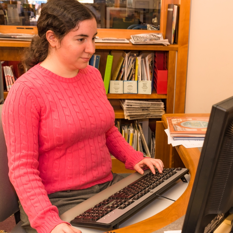 Librarian on Computer at Suffern Free Library