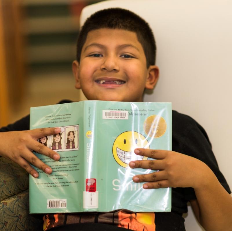 Boy in Suffern Library's Children's Room