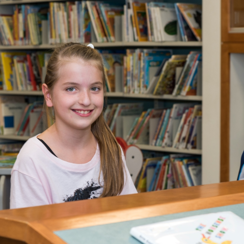 Young Girl in Suffern Library's Children's Room
