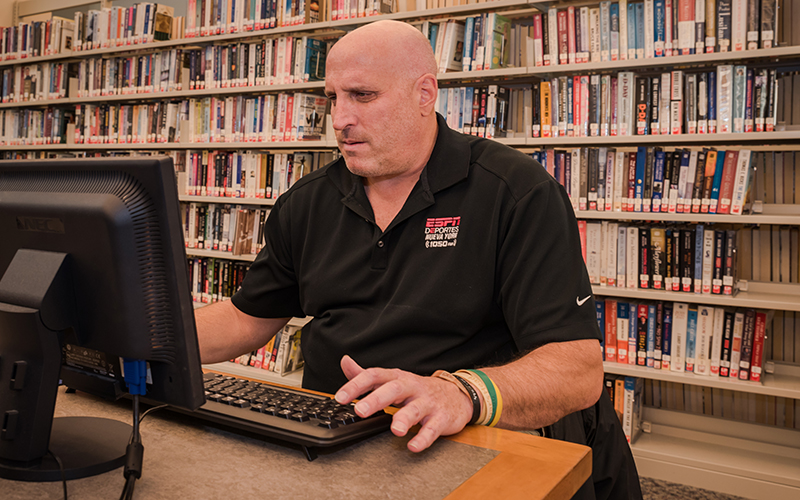 Man Using Computer Terminal at Suffern Free Library